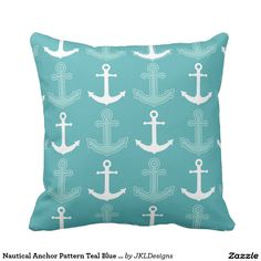 Nautical Anchor Pattern Teal Blue and White