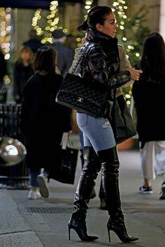 Georgina Rodriguez in thigh-high boots Thigh High Boots, High Heel Boots, Over The Knee Boots, Heeled Boots, Older Women Fashion, Trendy Fashion, Womens Fashion, Fashion Trends, Mode Chic
