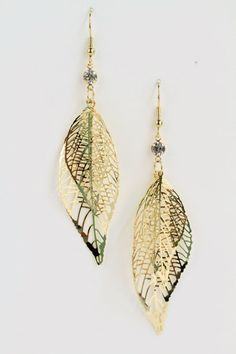 $6.48 Layered filigree gold leaf earrings. Gold looks amazing with a LOT of things