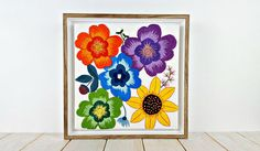 Embroidery Art. Flower Design. Gift. Decor. Wall Hanging.