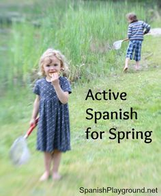 Activities to get kids moving as they teach language about the season. These suggestions for active Spanish learning are part of the Easy Spanish-Easy Yoga series and include Spanish songs, Spanish yoga, a Spanish story with yoga poses woven into the narrative, and Spanish games (a printable Spanish game and a playground game). #YogaSpanish #Spanishspring http://spanishplayground.net/active-spanish-spring/