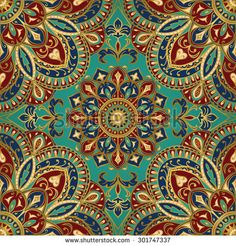 Seamless vector colorful pattern. East ornament with gold contour and colorful details on the turquoise background. Tracery of mandalas for textile.