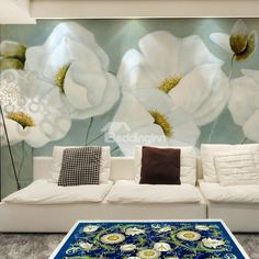 White Elegant Flowers Pattern Living Room Decoration Waterproof 3D Wall Murals