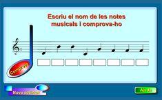Escribe el nombre de las notas musicales que están representadas en el pentagrama y comprueba si  lo has hecho bien.