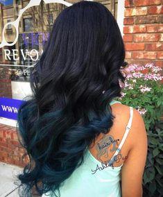 40 Vivid Ideas for Black Ombre Hair Black Hair With Dark Blue Ends Dark Ombre Hair, Dark Blue Hair, Hair Color Dark, Ombre Hair Color, Blonde Ombre, Black Ombre, Blonde Brunette, Brown Hair, Splat Ombre