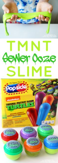 TMNT Sewer Ooze Slime - This super easy DIY slime is a ton of fun for kids and makes a great party favor for Teenage Mutant Ninja Turtles parties! Printable labels included!