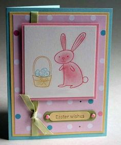 Greeting Card  Easter Wishes Easter Bunny with Basket by JanTink, $4.95