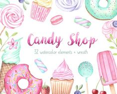 Sweet Watercolor Set, Cupcake Clipart, Donut Clipart, Sweet Patterns By KristyWatercolor Cupcake Clipart, Cupcake Logo, Donuts, Ice Cream Clipart, Ice Cream Logo, Ice Logo, Watercolor Cake, Candy Art, Candy Theme