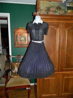 Vintage 60's Semi Sheer Black Dress w White Dots Full Skirt Kay Windsor M | eBay