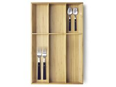 A bamboo VARIERA cutlery tray with forks and spoons for kitchen drawer organisation