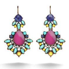 Chloe & Isabell  Fushia earrings w/ a hint of turquoise. Awesome statement earrings!  Positano Convertible Statement Earrings
