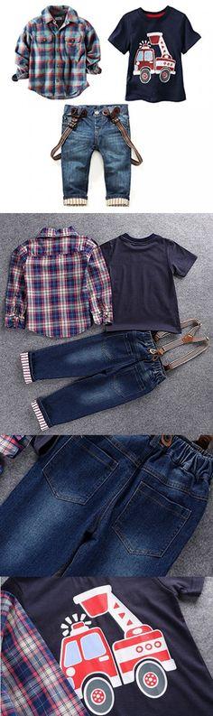 LUKYCILD Baby boy suit plaid shirts car printing t-shirt jeans 3pcs (4T, Blue)