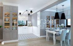 Dom jednorodzinny na Psim Polu, Wrocław - Średnia otwarta jadalnia w salonie, styl nowojorski - zdjęcie od ROOM STUDIO