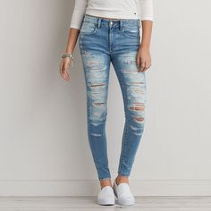 AEO Denim X Hi-Rise Jegging (Jeans) ($60) ❤ liked on Polyvore featuring jeans, bottoms, pants, torn dreams, stretch jeans, destroyed jeans, stretch denim jeans, ripped denim jeans and denim jeans