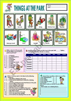 The students are learn about the vocabs, what the things in the park.The will learn how to mention activities in the park.And able to mention the name of things in the park.There are 4 activity here.Hope your students like it and useful for u ^_^ Vocabulary Games, Grammar And Vocabulary, Vocabulary Worksheets, Worksheets For Kids, Teacher Notes, Best Teacher, Teaching Kids, Kids Learning, Esl Lesson Plans