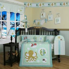 Jungle Animal Baby Bedding set by Sisi will help you create an incredibly exciting room for your baby. This fashionable baby girl bedding set features a super contemporary fabric paired with vivid color. Baby Crib Sets, Girls Bedding Sets, Crib Bedding Sets, Baby Boy Rooms, Baby Cribs, Comforter Set, Doll Bedding, Bedding Shop, Nautical Crib Bedding