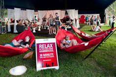 """Bonnaroo attendees could relax in hammocks and enter to win V.I.P. passes in the """"Great State Lounge"""" hosted by State Farm. The insurance company also provided what it called """"Bonnaroo Roadside Assistance""""—free services such as help with lockouts, flat tires, and dead batteries."""