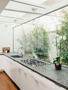 Frameless bifold Windows kitchen servery