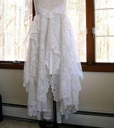 Off White / Bridal white tattered boho gypsy hippie alternative bride wedding dress, recycled / vintage laces by LilyWhitepad on Etsy