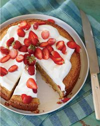 Cornmeal-Almond Cake with Strawberries and Mascarpone  This is very yummy. I did not put in the lemon zest  & I used water instead of the lemon juice, because I'm not overly fond of citrus flavored desserts.