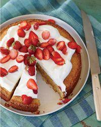 Cornmeal-Almond Cake with Strawberries and Mascarpone