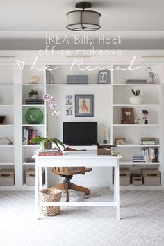 Office Makeover Reveal | IKEA Hack Built-in Billy Bookcases - how to achieve this entire library home office, including decor, for under $2k!