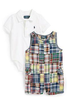 Ralph Lauren Patchwork Bodysuit & Shortalls (Baby Boys) | Nordstrom