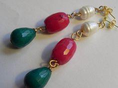 Pendientes color pasion  piedras naturales pendientes por MACALAR #earings #pendientes #piedrasnaturales #rojo #red #trendy