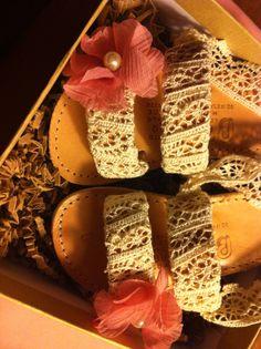 #sandals #handmade #customade #lace #roses #pearls #Ivory #peachpink #littlelady #littleprincess #style