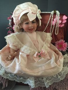 Signed Fayzah Spanos Pretty In Pink Vinyl Baby Doll