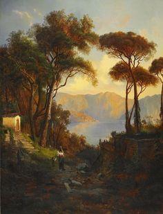 """EDVARD BERGH 1828-1888, """"tillskriven Vy över Lago Maggiore"""""""