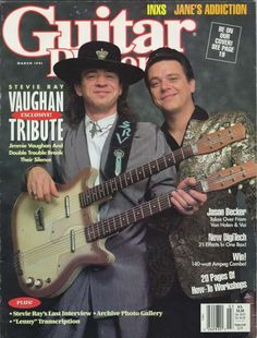 Stevie and Jimmie Tony Hawk Skateboard, Baritone Guitar, Jimmie Vaughan, Texas Flood, Guitar Magazine, Jane's Addiction, Stevie Ray Vaughan, Extraordinary People, Van Halen