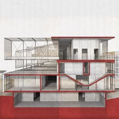Daily design inspiration  Botanica green house - University roof extension Thesis project, perspective section render  Follow us to get updates!  Decketts.com  #botanica #conservatory #greenhouse #university #roof #rooftop #extension #red #simple #minimal #perspective #section #steel #structure #elevation #thesis #architecture #architectureporn #visual #render #art #artistic #building #planning #daily #design #inspiration #decketts #instarender #archdaily