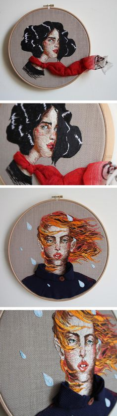 Ezgi Pamir incorporates real objects into her embroidery; she uses fabric, buttons, and branches that add an unexpected sculptural element to her work. Contemporary Embroidery, Modern Embroidery, Embroidery Hoop Art, Cross Stitch Embroidery, Embroidery Patterns, Thread Art, Thread Painting, Diy Broderie, Textiles