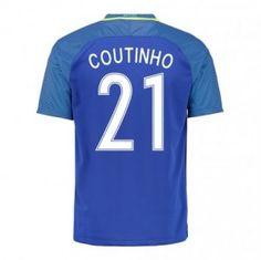 2016 Brazil National Team Coutinho 21 Away Soccer Jersey [D966]
