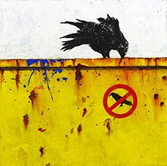 """DUMPSTER DIVING IV: THE REBEL- Contemporary Raven Painting by Cristina Del Sol Mixed Media, Oils, Pigments and Cold Wax ~ 10"""" x 10"""""""
