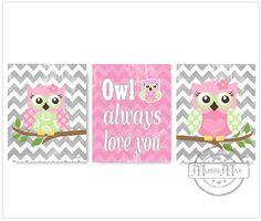Nursery Owl Print wall art Set of tree 8 x 10 Girls by MuralMAX, $45.00