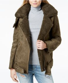 J.o.a. Faux-Shearling Long Biker Jacket