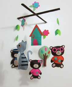 "Baby Mobile - Baby Crib Mobile - Mobile - Crib mobiles - Felt Animal Mobile - ""mother bear, father bear, baby bear, cat, house"" on Etsy, $78.00"