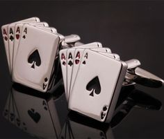 Ace Card Cufflinks for the Poker Player