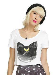 Sailor Moon Luna Head Girls Crop TopSailor Moon Luna Head Girls Crop Top,