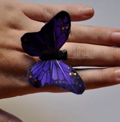 Stunning Purple Monarch Butterfly Ring Spring Butterfly Jewlery Ring