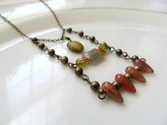 Bronze Earthy Tribal Fringe Necklace - Orange Yellow and Green Beaded Layered Necklace by KatyaValera