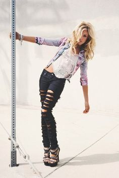 ombre jacket and black ripped jeans