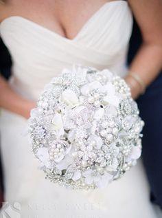 Classic pearl and rhinestone heirloom brooch bouquet