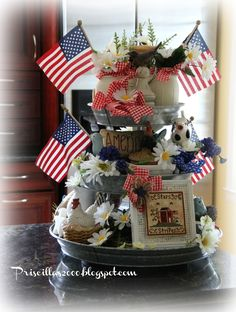With Memorial Day weekend it& time to get out all the Red White and Blue. The galvanized tiered tray in my kitche. Fourth Of July Decor, 4th Of July Decorations, 4th Of July Wreath, July 4th, Galvanized Tiered Tray, Galvanized Decor, Tiered Server, Tiered Stand, Tier Tray