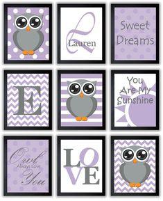 Owl Purple Grey Gray Nursery Art Mix Match by KidsNurseryArt, $1.20