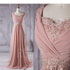 2017 Blush Lace Neck Bridesmaid Dress with Beading, Long Pleated Chiffon Wedding Dress, Women Prom Dress, Evening Gown Floor Length Pleated Wedding Dresses, Pink Prom Dresses, Nice Dresses, Chiffon Dresses, Dress Lace, Dress Wedding, Sequin Bridesmaid, Bridesmaid Dresses, Formal Evening Dresses