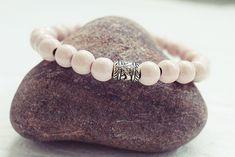 Pale Pink Beaded Bracelet | Wood Bead Bracelet | Mens Elastic Bracelet  Simple Mens Bracelet Handmade Bracelets, Bracelets For Men, Beaded Bracelets, Bracelet Sizes, Bracelet Designs, Anklet, Pale Pink, Beads, Gifts