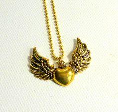 Collier coeur doré aile d'ange romantique/collier idée